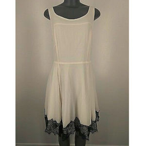 Express Dress Fit Flare White Black Lace Sleeveles